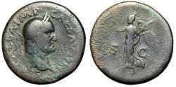 """Ancient Coins - Galba 68-69 AD AE Sestertius """"His Portrait & Victory Walking Left"""" RIC 456 aF"""