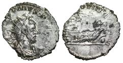 "Ancient Coins - Postumus AR Antoninianus ""SALVS PROVINCIARVM Rhine Reclining"" Treveri RIC 87 aEF"