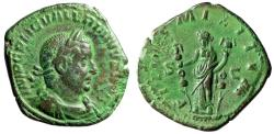 """Ancient Coins - Valerian I AE Sestertius """"FIDES MILITVM Fides, Ensigns"""" 254 AD Near EF Green"""