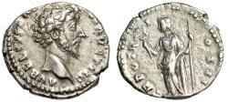 """Ancient Coins - Marcus Aurelius Caesar AR Denarius """"Felicitas With Caduceus"""" Rome gVF Rare"""