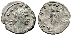 """Ancient Coins - Claudius II Gothicus Silvered Antoninianus """"FORTVNA RED Fortuna"""" Choice EF"""