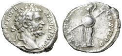 """Ancient Coins - Septimius Severus AR Denarius """"Minerva With Shield & Spear"""" RIC 71 VF"""