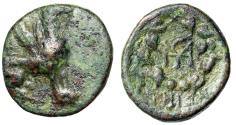 """Ancient Coins - Ionia, Teos AE18 """"Griffin Seated & Monogram in Wreath"""" Rare Fine"""