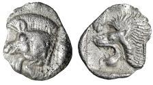 "Ancient Coins - Mysia, Kyzikos AR Hemiobol ""Boar, K Shoulder & Lion, Panther Face"" Rare gVF"