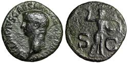 """Ancient Coins - Claudius I AE As """"SC Minerva Brandishing Spear & Shield"""" Rome 42AD RIC 100"""