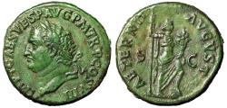 "Ancient Coins - Titus AE As ""Portrait Left & Aeternitas, Globe"" 80-81 AD RIC 220 Good VF Green"