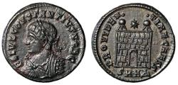 """Ancient Coins - Constantius II Caesar AE18 """"PROVIDENTIAE CAESS Camp Gate"""" Heraclea Near EF"""