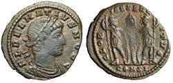"Ancient Coins - Delmatius AE18 ""Two Roman Soldiers"" Constantinople RIC 141 Fine"