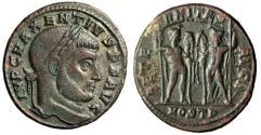 "Ancient Coins - Maxentius AE Follis ""Castor & Pollux, Dioscuri, Horses"" Ostia RIC 14 gVF"