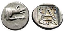 "Ancient Coins - Argolis, Argos AR Triobol ""Wolf at Bay & A, Harpa"" Agathokleos Magistrate VF"