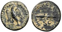 "Ancient Coins - Hadrian AE Semis ""Eagle Left & Winged Thunderbolt"" RIC 624 Good VF Scarce"