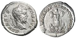 "Ancient Coins - Septimius Severus AR Denarius ""Trophy, Parthian Captives at Base"" 202 AD gVF"