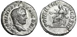 "Ancient Coins - Caracalla AR Denarius ""Concordia Seated, Patera"" Rome 210 AD VF"