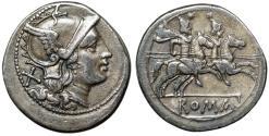 "Ancient Coins - Roman Republic Denarius, Anonymous ""Roma Helmet Decorated Griffin / Dioscuri"" VF"