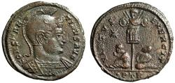 """Ancient Coins - Constantine I The Great AE20 """"VIRTVS EXERCIT Captives"""" Trier RIC 249 Rare gVF"""