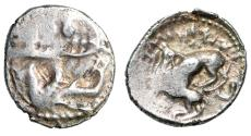 "Ancient Coins - Phoenicia, Byblos AR 1/16 Shekel (Obol) ""Galley, Hippocamp & Lion Killing Bull"""