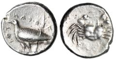 "Ancient Coins - Sicily, Akragas Archaic AR Didrachm ""Eagle, & Crab"" Rare Legends Variety Good VF"