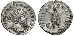 "Ancient Coins - Postumus AR Antoninianus ""SARAPI COMITI AVG Serapis, Prow"" RIC 329 Near EF"