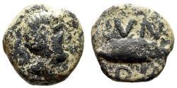 """Ancient Coins - Spain, Cunbaria AE Semis """"Male Head & Fish Left"""" Rare"""