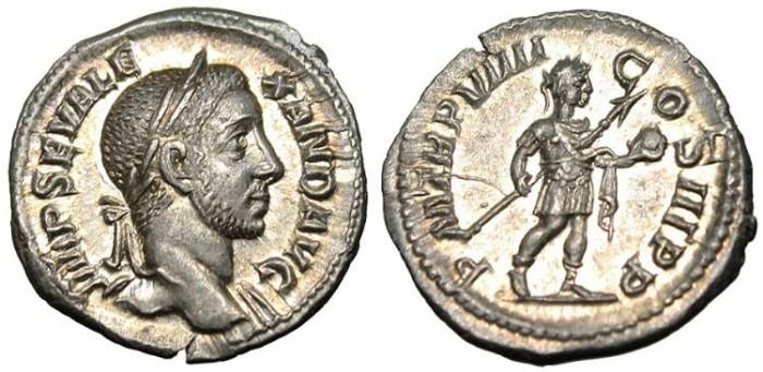 "Ancient Coins - Severus Alexander, AR Denarius ""Spear & Globe"" Mint State MS RIC 105 var"