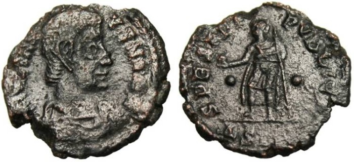 "Ancient Coins - Julian II, Ae3 'SPES REIPVBLICE"" Siscia RARE Unlisted Two Pellets Reverse!"