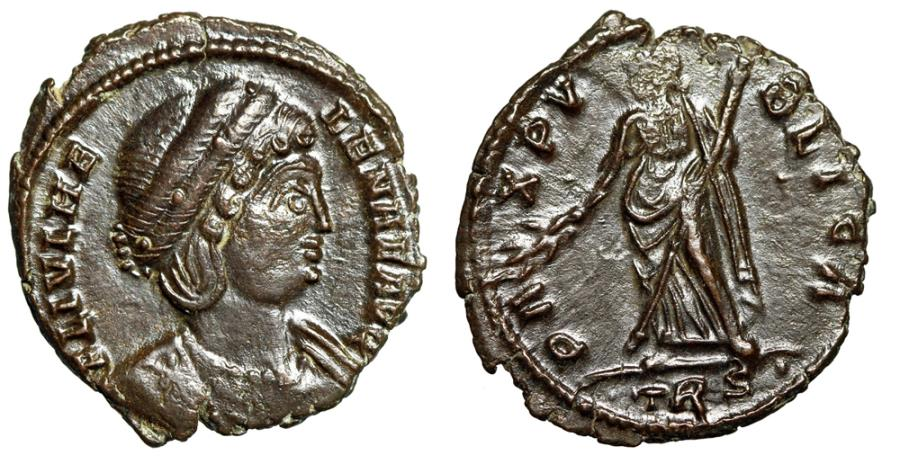 """Ancient Coins - Helena AE16 """"PAX PVBLICA Pax"""" Trier RIC 55 Rare Ex Nether Compton Hoard About EF"""