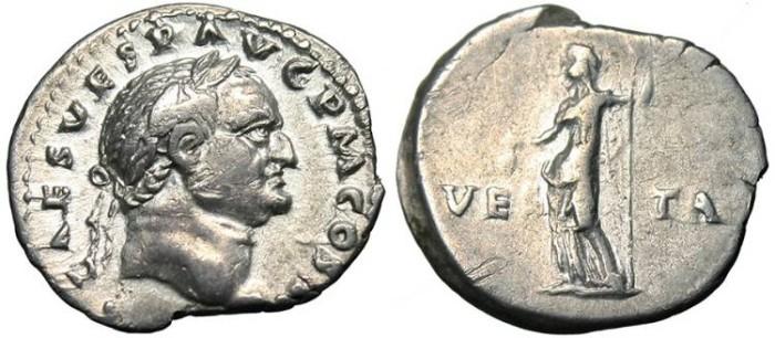 """Ancient Coins - Vespasian, AR Denarius """"Vesta"""" Rome RIC 50 EF/VF 72 AD"""