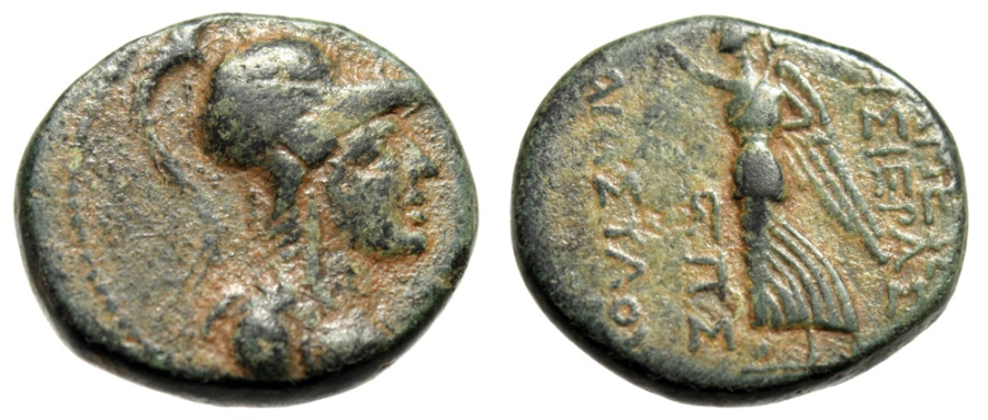 "Ancient Coins - Syria, Apameia (Apamaea) ""Athena & Nike"" Dated 27/26BC VF Attractive"