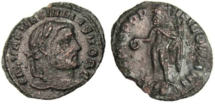 """Ancient Coins - Galerius Caesar Quarter Follis """"Genius"""" Siscia RIC 170b Rare VF"""