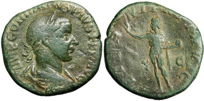 """Ancient Coins - Gordian III, AE Sestertius """"AETERNITATI AVG Sol"""" Rome RIC 297 a VF"""