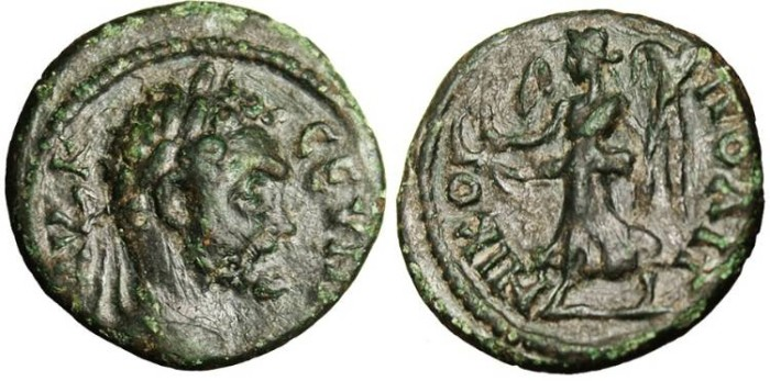 "Ancient Coins - Septimius Severus, AE 17 ""Nike"" Moesia, Nicopolis VF"