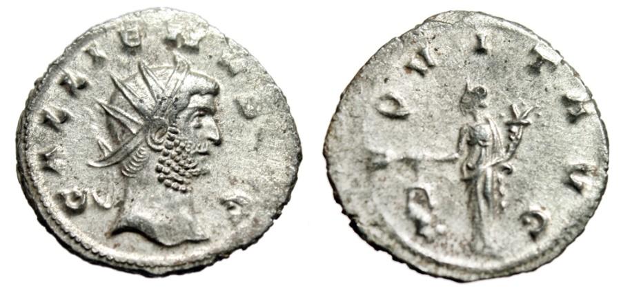 """Ancient Coins - Gallienus Silvered Antoninianus """"AEQVIT AVG Aequitas, Scales"""" Siscia RIC 553 VF"""