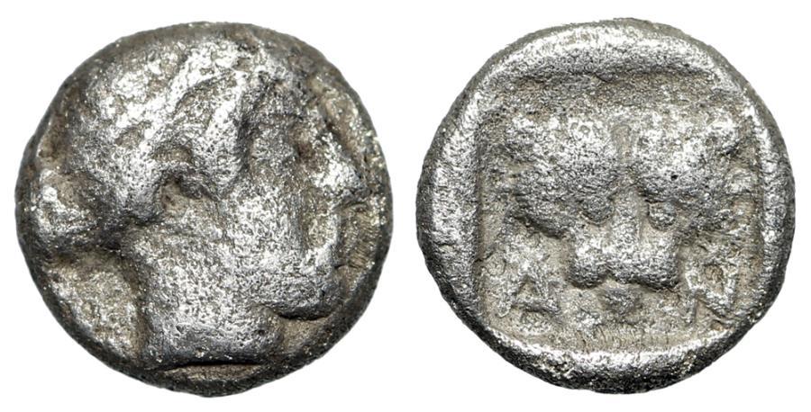"Ancient Coins - Troas, Antandros AR Hemiobol ""Artemis Astyrene & Facing Lion AN"" Scarce"