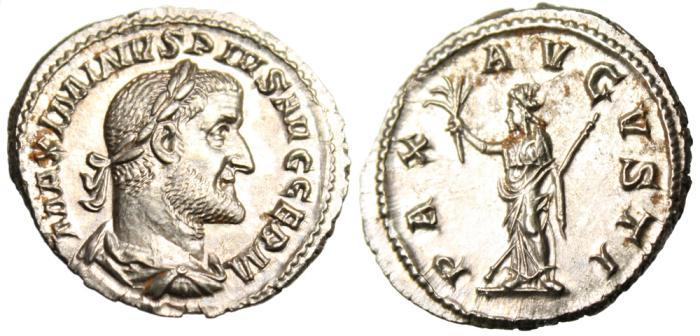 """Ancient Coins - Maximinus I Thrax Silver AR Denarius """"Pax"""" Rome RIC 12 FDC Exceptional MS"""