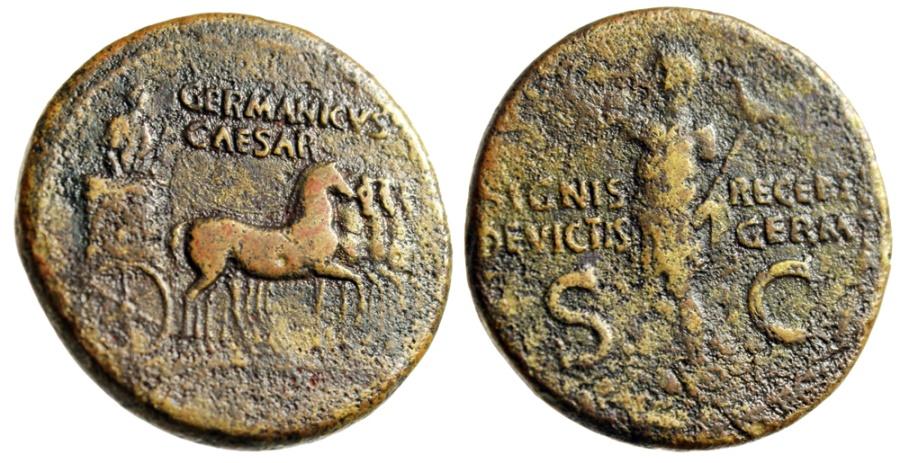 """Ancient Coins - Divus Germanicus (Under Caligula) """"Quadriga, Triumphal Salute"""" RIC 57 Good Fine"""