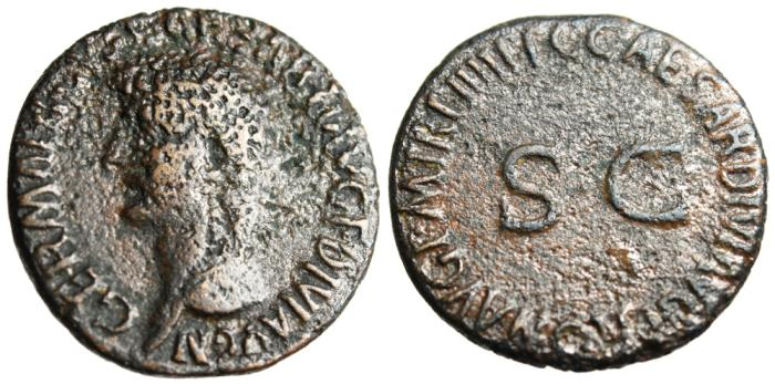 """Ancient Coins - Germanicus AE As """"SC= Senatus Consulto"""" Rome Under Caligula RIC 50"""