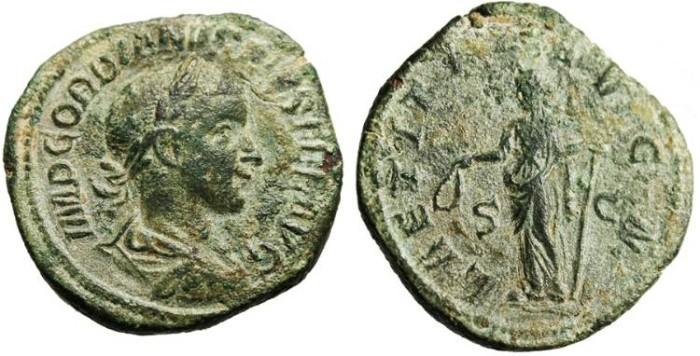 """Ancient Coins - Gordian III, AE Sestertius """"Laetitia"""" gVF RIC 300a"""