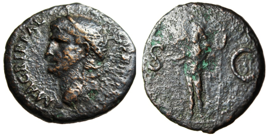 """Ancient Coins - Agrippa AE As """"Neptune With Trident & Dolphin"""" RIC 58 (Caligula) Rome 38AD"""