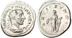"""Ancient Coins - Philip I Silver Antoninianus """"LAETIT FVNDAT Laetitia With Wreath & Rudder"""" EF"""
