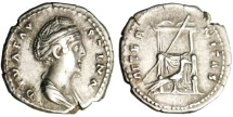 """Ancient Coins - Faustia I AR Silver Denarius """"AETERNITAS Throne, Peacock Before"""" RIC 353"""