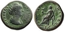 "Ancient Coins - Diva Faustina I Sestertius ""Aeternitas Seated, Phoenix on Globe"" RIC 1103a gF"