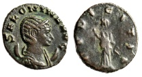 "Salonina AE Antoninianus ""Pudicita Standing"" Rome Mint RIC 24 Nice Portrait"