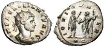 "Ancient Coins - EF & Fully Silvered Aurelian Antoninianus ""Jupiter"" Siscia RIC 225"