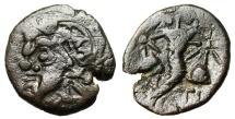 """Ancient Coins - Thrace (Cimmerian Bosporus), Pantikapaion AE17 """"Satyr & Cornucopia, Caps"""" VF"""