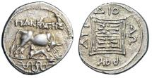"Ancient Coins - Illyria, Dyrrhachium AR Drachm ""Serpent Entwined Staff"" Pankratas & Diodorou nEF"