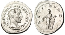 "Ancient Coins - Philip I Silver Antoninianus ""LAETIT FVNDAT Laetitia With Wreath & Rudder"" EF"