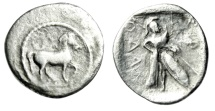 "Ancient Coins - Thessaly, Pharkadon AR Obol ""Horse / Athena, Spear and Shield"" Scarce Good Fine"