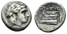 "Ancient Coins - Bithynia, Cius (Kios) AR Hemidrachm ""Apollo & Prow, Grain"" Posis Magistrate gVF"