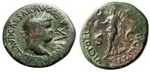 "Ancient Coins - Nero Dupondius With Rare VESP Monogram Vespasian Countermark ""Victory"""
