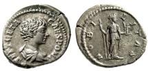 """Ancient Coins - Geta AR Denarius """"Nobilitas Standing, Nobility"""" Rome 199 AD RIC 13a VF"""